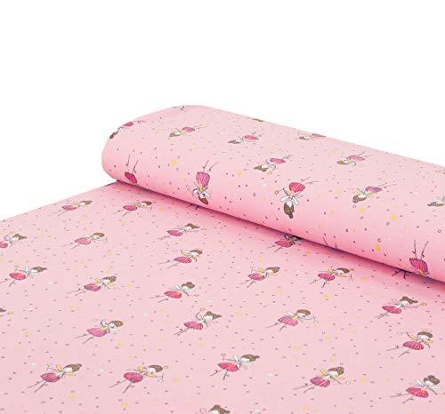 Nadeltraum Baumwoll - Jersey Stoff Ballerina Tänzerin rosa - Meterware ab 25 cm x 150 cm - Stoff zum Nähen