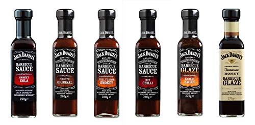 Juego de degustación Jack Daniels BBQ grill salsas, Smokey Cola, Hot Chilli, Full Flavor Smokey, Smooth Original, Tennessee Honey BBQ Glaze, Smokey Sweet, 1,580kg