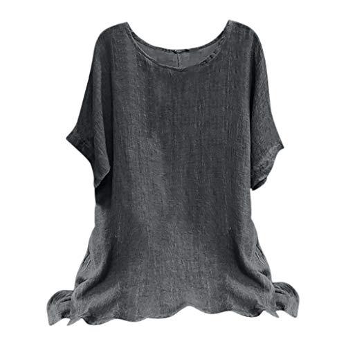 BHYDRY Frau Vintage Baumwollmischung O-Ausschnitt Kurzarm Lose Top T-Shirts Bluse