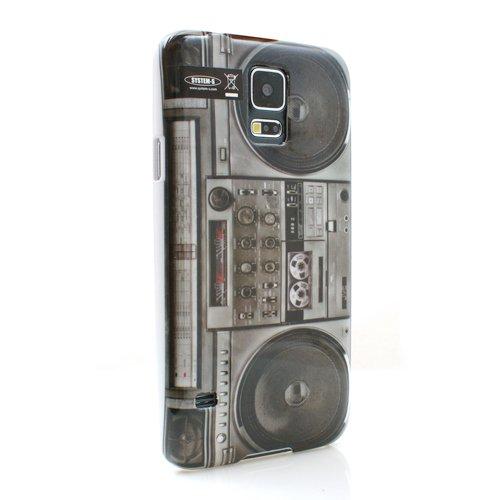 Retro Look Hülle Skin Cover Case Schutzhülle Tasche im Ghetto Blaster Boom Box Kassetten Spieler Vintage Style für Samsung Galaxy S5