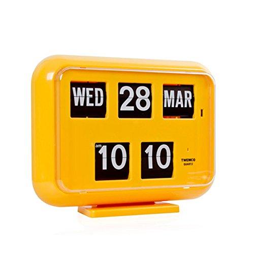 twemco Homeloo German Quartz Calendar Retro Modern Wall Flip Clock QD 35 (Yellow)