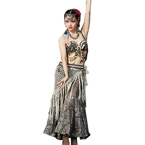RJ Kleid Bauchtanz Tribal Style Anzug Performance Kleidung, hängende Münzen BH Quasten Bund fallenden Wind Show Set (Color : Black, Size : M)
