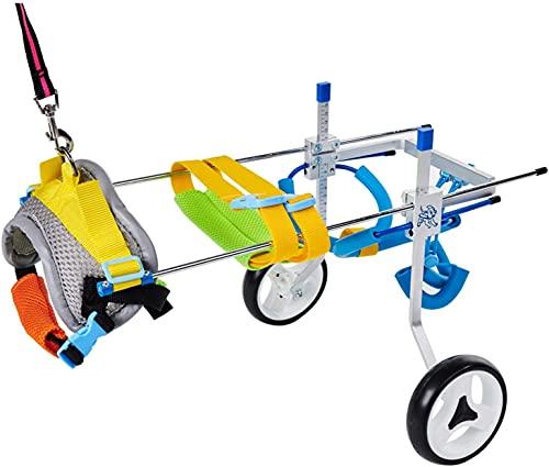 リハビリ犬用車椅子 柴犬、チワワ、トイプードル、シーフード、ダックスフントなど歩行障害 補助 歩行器 老犬介護 調節可能4輪犬用車いす S