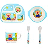 GY-FANHE Cartoon Bento Lunch Box, Food Plate Healthy with Bowl/Cup/Fork/Spoon for Kids