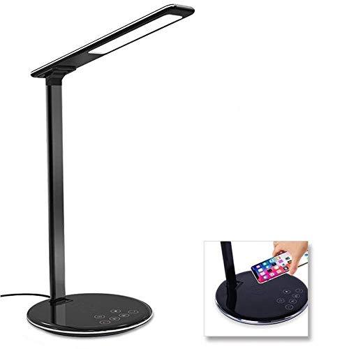 BETTERSHOP lámpara de Mesa LED 12 W, lámpara de Escritorio Estudio, Regulador Touch, 4 Niveles De Brillo, soporta La Carga inalámbrica Qi, Puerto de Carga USB, para iPhone Y Otros Smartphones