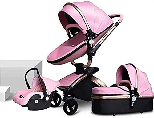 Cochecito de cuero rosado de tres en uno, rotación de 360 grados, diseño de cáscara de huevo, cochecito de amortiguador, cochecito de alta vista, cochecito plegable, techo ajustable, base de almacen