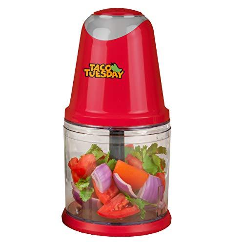 Nostalgia Taco Tuesday Zerkleinerer mit 2 Geschwindigkeiten, perfekt für Salsa, Guacamole, Dip, Saucen, Hummus, Edelstahlklingen, Kapazität für 2 Tassen, Rot