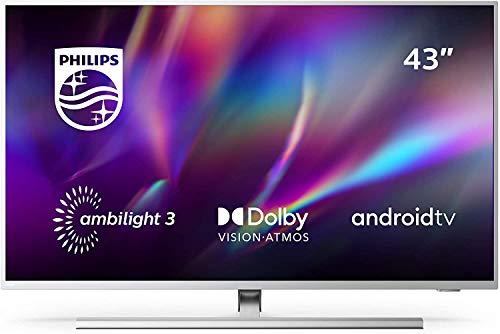Philips Ambilight 43PUS8505/12 - Televisor Smart TV de 43 Pulgadas (4K UHD, P5 Picture Engine, Dolby Vision, Dolby Atmos, Control de Voz, Android TV), Color Plata Claro (Modelo de 2020/2021)