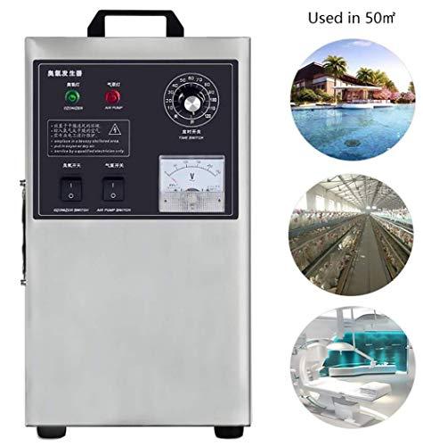 Generador De Ozono,3G / H Uso En El Hogar Generador De Ozono Máquina De Ozono Aire Desinfección Del Agua Ozonizador Para La Fábrica De Alimentos Y Productos Farmacéuticos Piscina Tratamiento De Agua