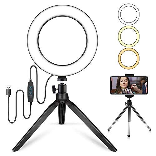 AUTOPkio 7,9'' Luce per Selfie con Treppiede Supporto, Regolabile Ring Light LED con 3 modalità & 10 Luminosità Luce Anello per