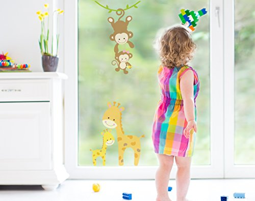 Affen Giraffen raamsticker, dieren kinderkamer F013