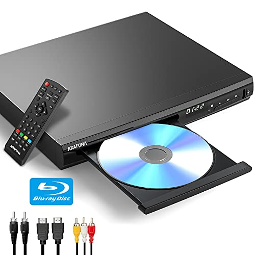 Mini Blu-Ray DVD Player for TV Home 1080P HD Disc Players Support All DVD and Region A/1 Blue Ray Theater DVD Player with HMDI/AV/Coaxial Output USB Input Include HDMI AV Coaxial Cable Remote