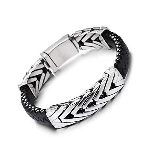 Knbob Titane Bracelet Homme Rhombe Argent