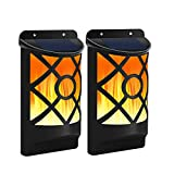 Solar Wall Lights, LED Street Lights with Flickering Flame 66 LED Waterproof Outdoor Solar Lamp for Garden, Landscape, Halloween Pathway, Patio, Balcony Deck Yard 2 Pack