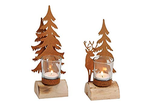 k/a 2 Windlichter Metall Hirsch und Metall Baum auf Holzstamm mit Glas - Windlichter im Set