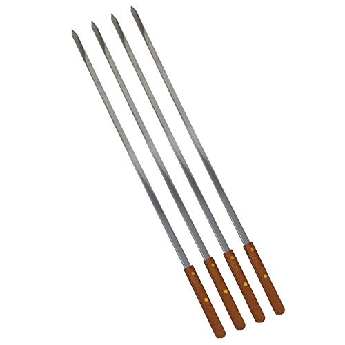 Great Features Of Unique Housewares BBQ Stainless Steel Skewers with Wooden Handle 23 Inch Long, 1/4...