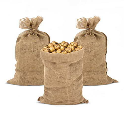 GROWNEER 3 Packs 39 x 24 Inches Burlap Potato Sack Race Bags with 3 Pcs Jute Ropes, for Potatoes, Kids, Adults, Games, Storage, Planting, Gardening, Party, Holiday