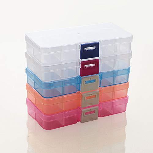 5 Pcs Boite en Plastique de Rangement Compartiment, Boîte de Rangement Amovible Rangement Plastique avec Compartiment pour Perles, Collier(Bleu, Rose, Boucle Rouge, Orange, Boucle Bleue)