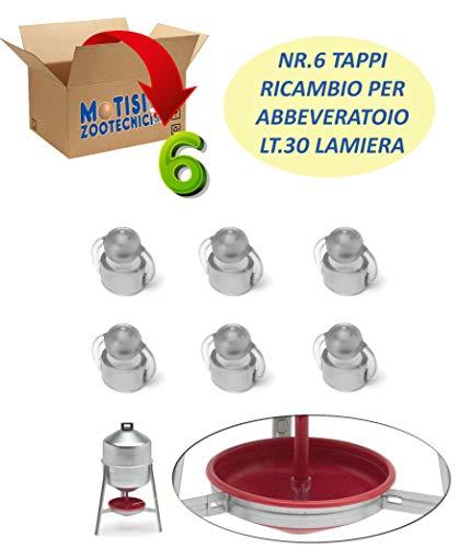 Motisi Zootecnici Nr.6 Tappo Ricambio per abbeveratoio Serbatoio in lamiera da Litri 30 per Galline, polli ECC.