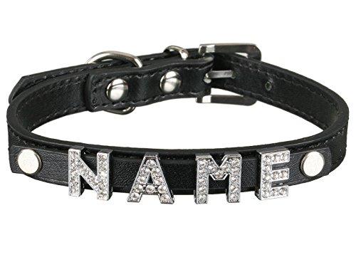 Scarlet pet | Hundehalsband »My-Name« inkl. 5 Strass-Buchstaben; mit Namen ihres Hundes personalisierbar; zusätzliche Buchstaben bestellbar (XS: 26 cm, Schwarz)