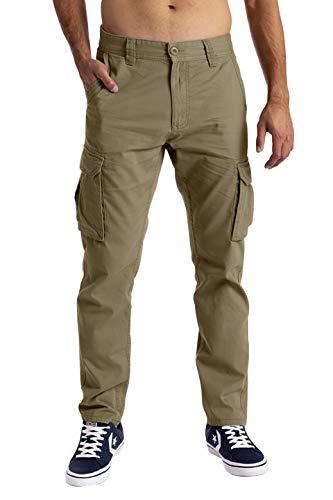 Pantalones cargo para hombre, con 6 bolsillos, 100 % algodón, pantalones de...