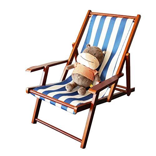 Chaise longue YNN Woodside Chaise de Plage en Bois Pliante de Jardin de Jardin Rayé Bleu foncé et Blanc (Couleur : 06)