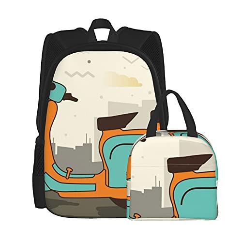 Scooter School Bags Mochila con bolsa de almuerzo combinada, adecuada tanto para hombres como para mujeres