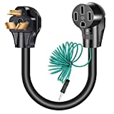 Beauty Kate 3 Prong to 4 Dryer Adapter - NEMA 10-30P to 14-50R with Additional Green Ground Wire, 120V/240V 30 Amp 1FT External Ground Welder Welding EV Charger Power Cord Adaptor Connector