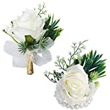 WEIERYUE White Rose Wrist Flowers and Men's Corsage Wedding Flowers Ceremony,2Pcs Boutonniere Buttonholes and Wrist Corsage Wristband Roses Wrist Corsage(White Rose Set)
