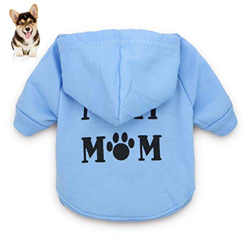 Macabolo - Vestiti per cani di piccola taglia con scritta stampata I Love My Mom, felpa con cappuccio per cuccioli o cani di piccola taglia in misto cotone con cappuccio per autunno-inverno