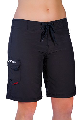 "Maui Rippers Women's 4-Way Stretch 9"" Swim Shorts Boardshorts (12, Black)"