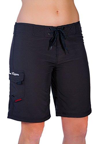 Maui Rippers Women's 4-Way Stretch 9' Swim Shorts Boardshorts (14, Black)