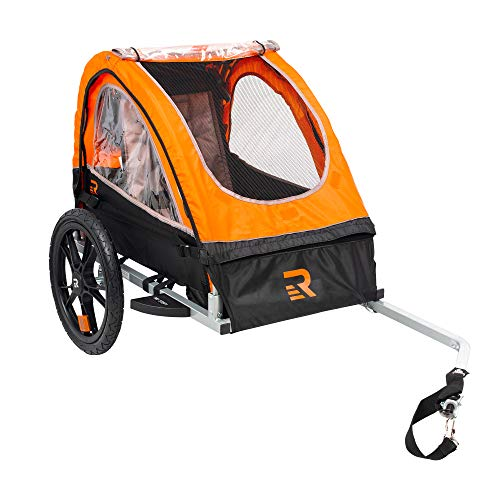 Retrospec Rover Kids Bicycle Trailer Single and Double Passenger Children's Foldable Tow Behind Bike Trailer with 16' Wheels, CPSC Approved Safety reflectors, and Rear Storage Compartment
