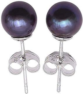 JYX Pearl Earrings 6-9mm Black Round Cultured Freshwater Pearl Studs Earrings