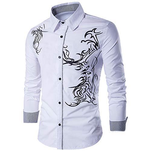 Hevoiok Herren Stilvoll Slim Hemd Casual Herbst Turn-down Collor T Shirt Langarm-Shirt Drache Bedruckt Hemd Langarmhemd für Anzug, Business, Hochzeit, Freizeit (Weiß, L)