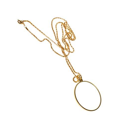 Gazechimp Vergrößerung Glas 6x Vergrößerungsglas Anhänger Lupe mit Gold Ketten Monokel Halsketten