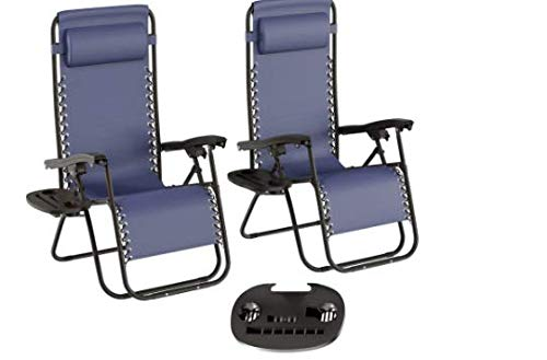 Lounge Chair Set– Sturdy Steel Frame – Textilene Fabric – 300 lbs Weight Capacity – Adjustable Back – Detachable Pillow – Foldable – Blue – Great For Garden, Poolside, Patio – 63.5' x 25.0' x 43.0'