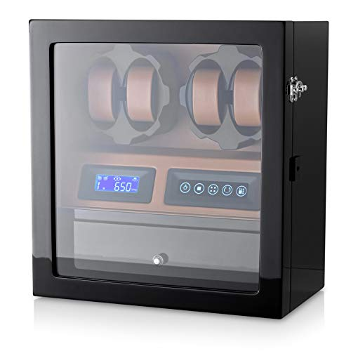4 Watch Winder with 5 Watch Storage Space, LCD Display, Touch Control and Interior Backlight (Black + Brown)
