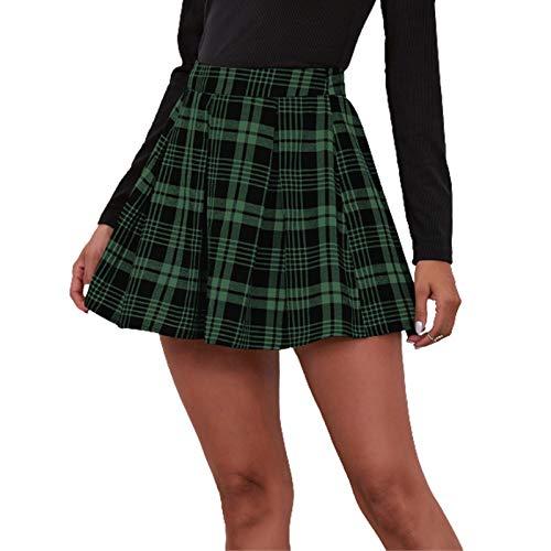 HRSD Falda A Cuadros Plisada Estilo Universitario Versátil Elástica Básica Falda Mini Skater Casual Niñas Escolar Patinador Plisado Tenis Cintura Alta Corto Falda De Verano,Verde,S