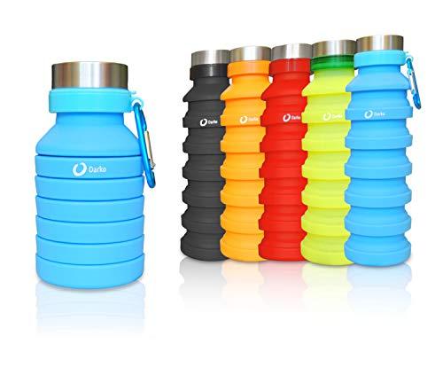 Darko - Borraccia Silicone Pieghevole, 550 ml con Gancio, Ecologica, BPA Free, ermetica, Escursionismo, Campeggio, Corsa, Trekking, Antiurto (Blu)