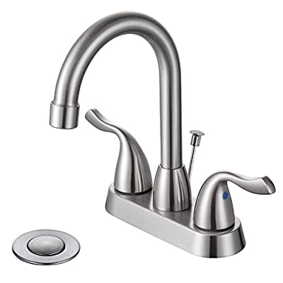 DESFAU Bathroom Faucet, 360 Degree Swivel High-arc Spout 4 Inch Centerset Bathroom Sink Faucet Brushed Nickel, Lavatory Faucet with Drain Assembly