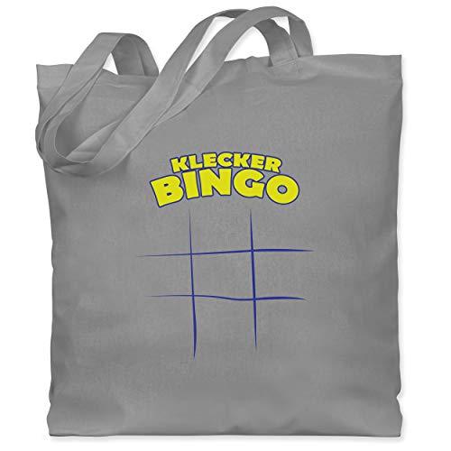 Shirtracer Bunt gemischt Kinder - Klecker - Bingo - Unisize - Hellgrau - WM101 - Stoffbeutel aus Baumwolle Jutebeutel lange Henkel
