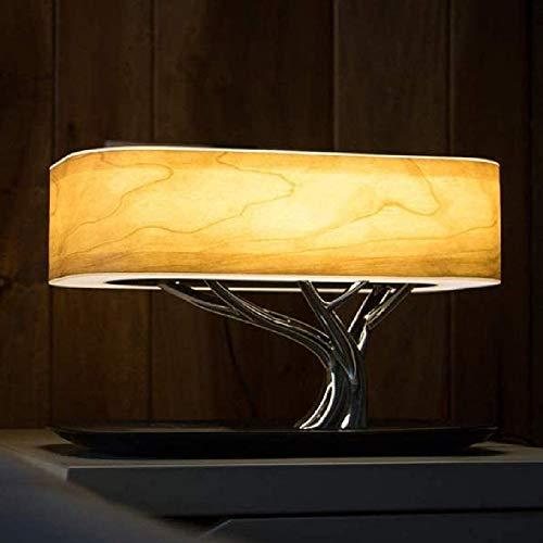 KKTECT Baum Tisch Lautsprecher Lampe Nachttischlampe mit kabellosem Ladegerät und Bluetooth-Lautsprecher mit Touch-Reglern für Helligkeit und Lautstärke