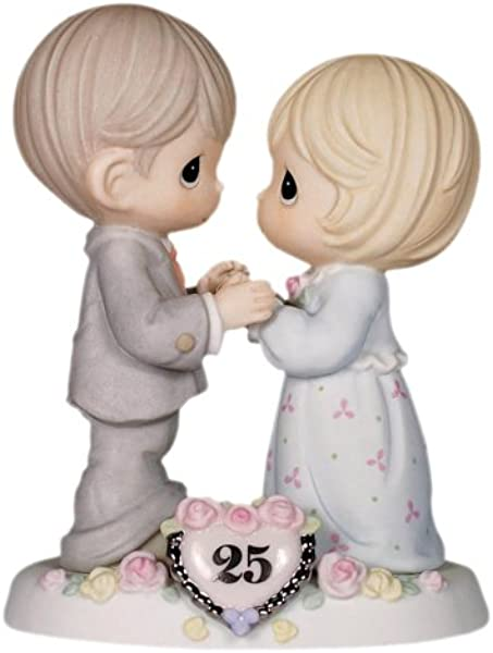 Precious Moments Our Love Still Sparkles In Your Eyes 25th Anniversary Bisque Porcelain Figurine 115911