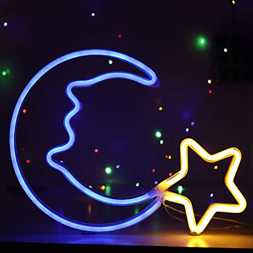 Neon Light Sign Blue Moon Star Neon Night Light for Kids' Bedroom Wall Art LED Decorative Lights for Home USB Powered LED Crescent Moon Neon Christmas Birthday Gift(NEMBSWW)