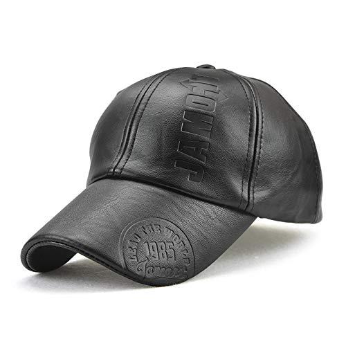 Sombrero de Cuero PU para Hombres y Mujeres Gorra de béisbol de otoño e Invierno Gorra cálida para Hombres Negros Sombrero de ala Larga de Ocio