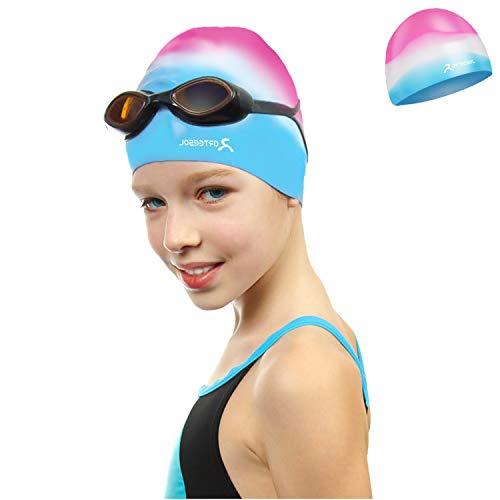 arteesol Badekappe für Kinder Jungen und Mädchen im Alter von 5 bis 12 Jahren - wasserdichte Badekappen für Kinder - Badehut Bequeme Passform für langes und kurzes Haar