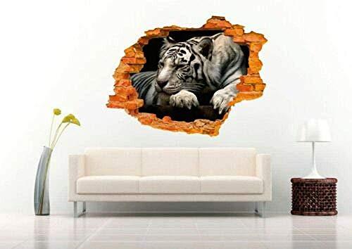 ioljk Pegatinas de Pared 3D Hermoso Tigre durmiendo Blanco y Negro Flor habitación Infantil Aplique de Vinilo