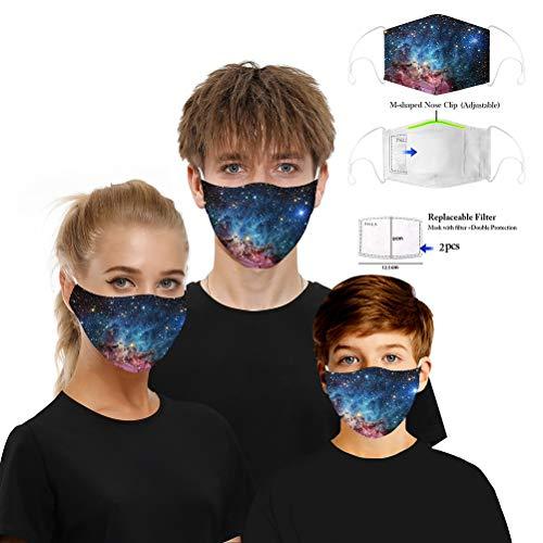 WWJJLL Gesichtsschutz, Digitaldruckverfahren atmungsaktiv Stilvoll, Staub- und waschbar Adjustable Earhook Staubschutz mit 2 Chips