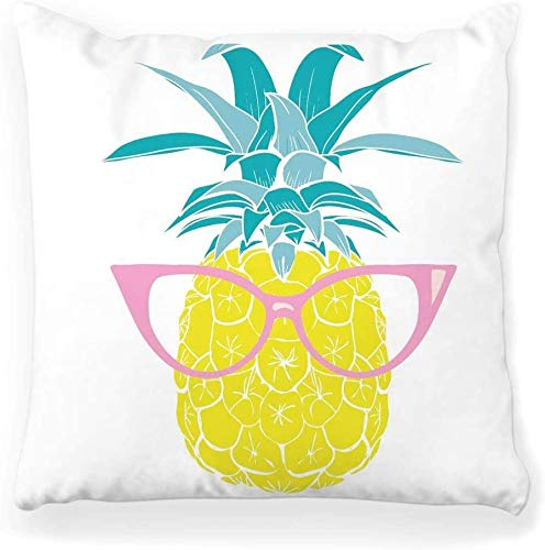 BONRI Decorative Throw Pillow Cover Square 16x16 Pineapple Print Art Blue Cartoon Color Cute Decorative Drawing Fresh Home Decor Zippered Pillowcase